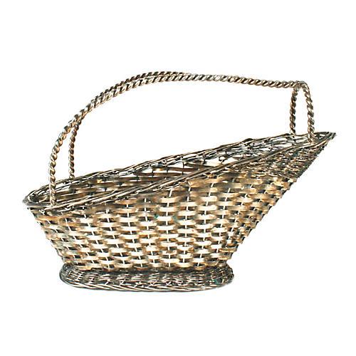 Silver-plate Basket Weave Wine Server