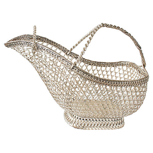 French Silver-Plated Woven Wine Server