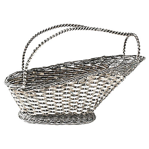 Silver-Plate Wine Serving Basket