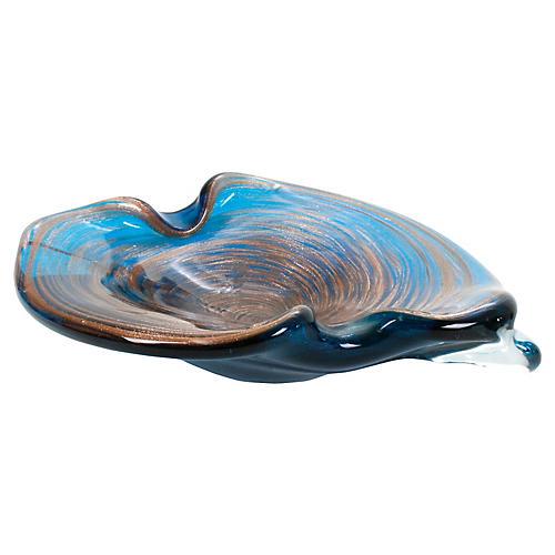 Murano Glass Spiral Gold & Blue Ashtray
