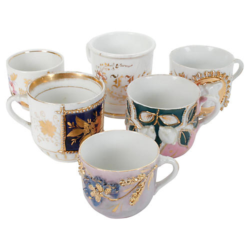 Five Assorted Cups and a Shaving Mug