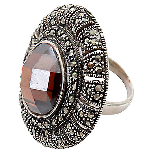 Silver, Marcasite & Faceted Garnet Ring