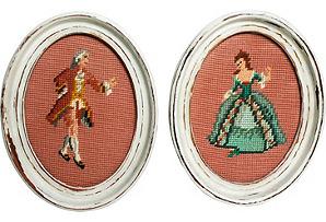 Needlework Pictures, Pair