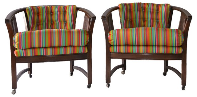 1960s Striped Chairs w/ Caning, Pair