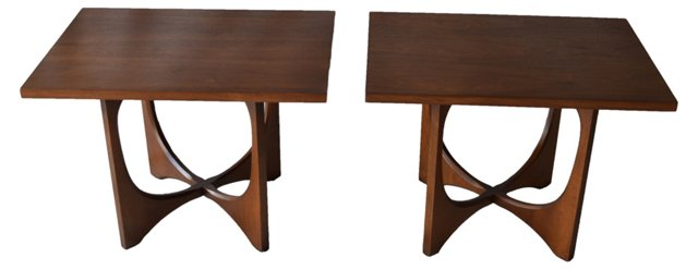 Midcentury Walnut End Tables, Pair