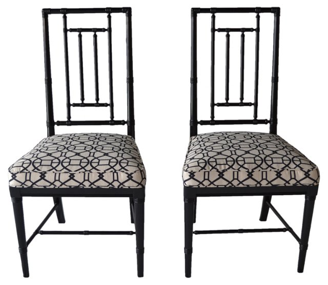 Faux-Bamboo Side Chairs,   Pair
