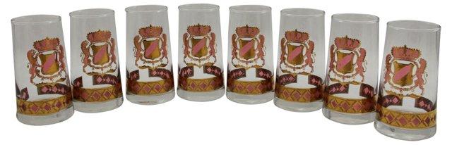 Lion Crest & Crown Glasses, S/8