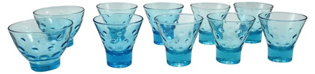 Blue Capri Dot Glasses & Bowls, S/10