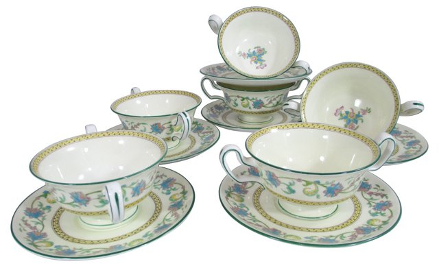 Wedgwood Bouillon Cups & Saucers, S/6