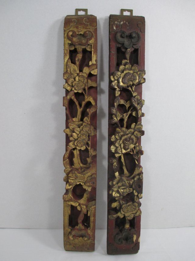 Asian Architectural   Wood Carvings, S/2