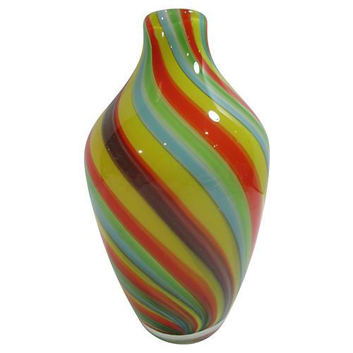 Italian Blown-Cased Glass Vase