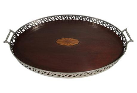 Antique Silver & Mahogany Inlaid Tray
