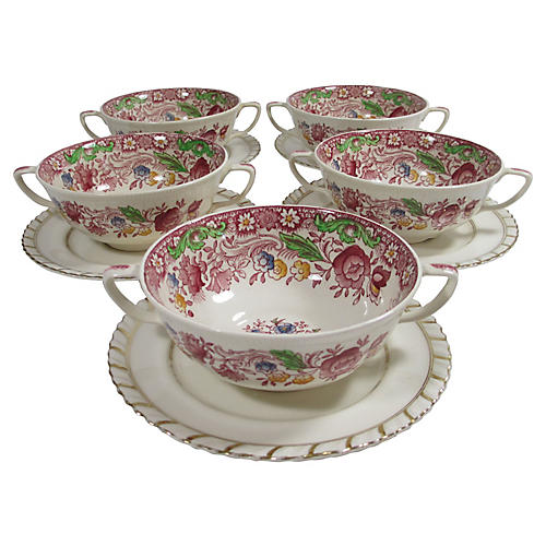 Antique English Bowls & Saucers, 10-Pcs