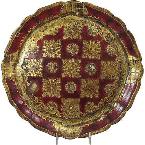 Florentine Painted Red and Gilt Tray