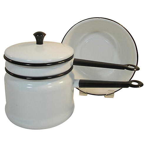 French Enamelware Bain-Marie Pans & Bowl