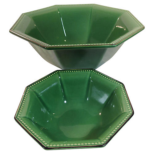 French Majolica Serving Bowls, Set of 2