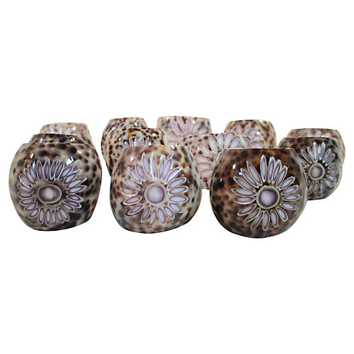 Hand-Carved Shell Napkin Rings, S/12