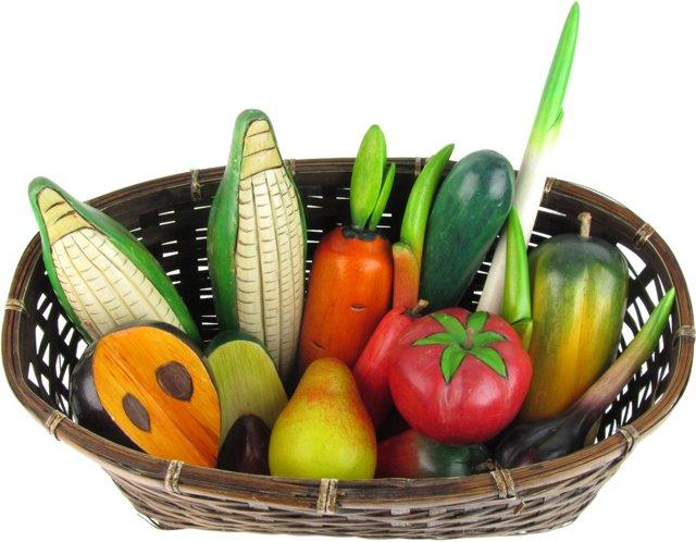Basket & Wood Fruit & Vegetables, 16 Pcs