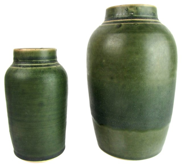 Hand-Thrown Studio Art Vases, Pair