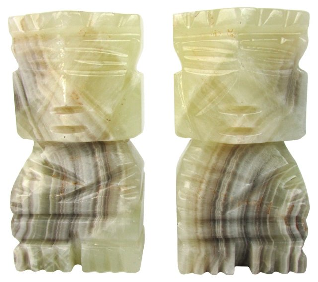 Pale Green & Gray Onyx Bookends