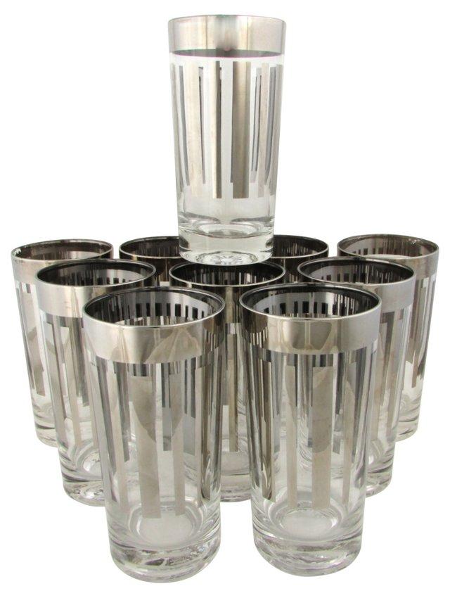 Geometric Silvered Tumblers, Set of 10