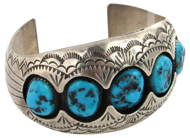 Navajo Shadow Box Turquoise Cuff