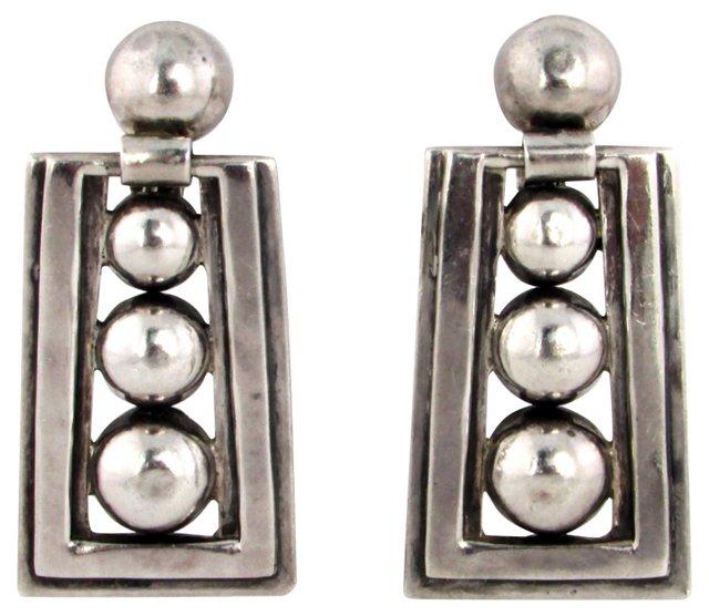 1950s Taxco Silver Orb Earrings