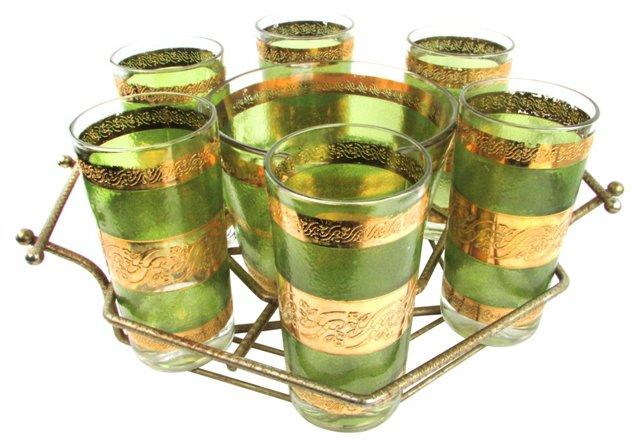 Green & Gold Tumblers w/ Caddy, 10 Pcs
