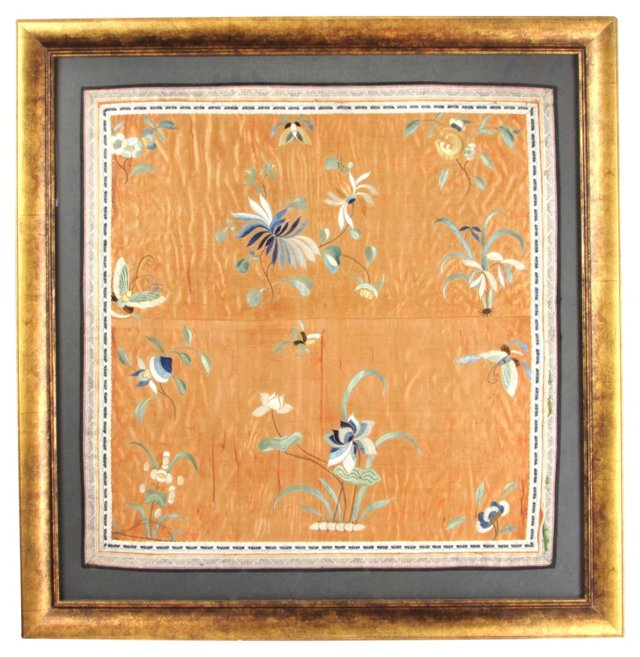 Framed Chinese Embroidery Silk Scarf