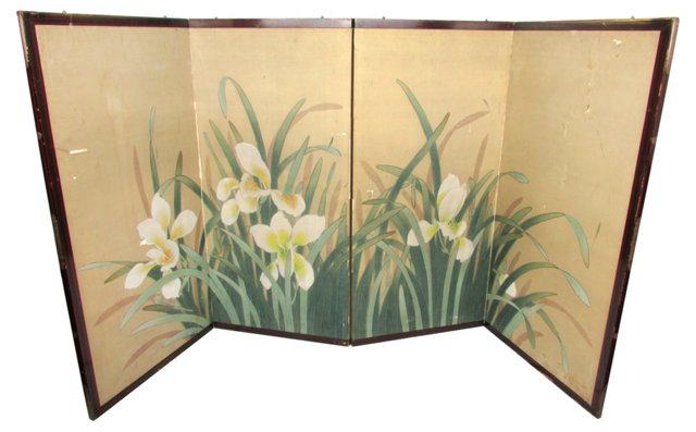 Painted Silk Table Screen