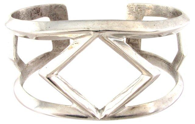 Navajo Sandcast Silver Cuff