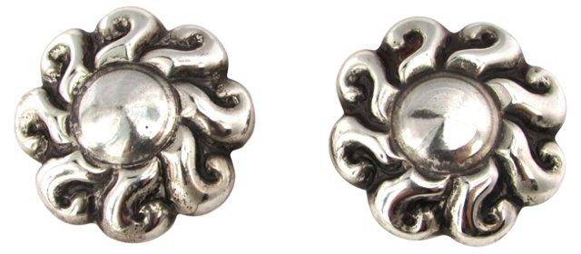 Mexican Silver Repoussé Earrings