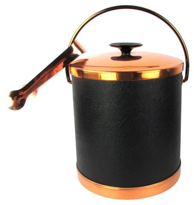 Copper Midcentury Ice Bucket w/ Tongs