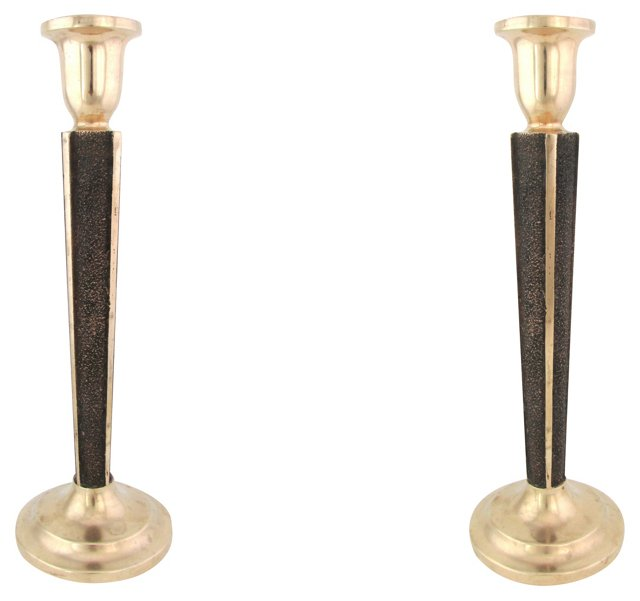 Cast Bronze Candlesticks, Pair