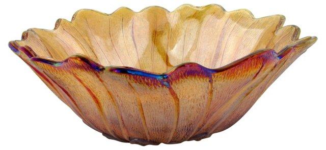 Amber Carnival Glass Flower Bowl