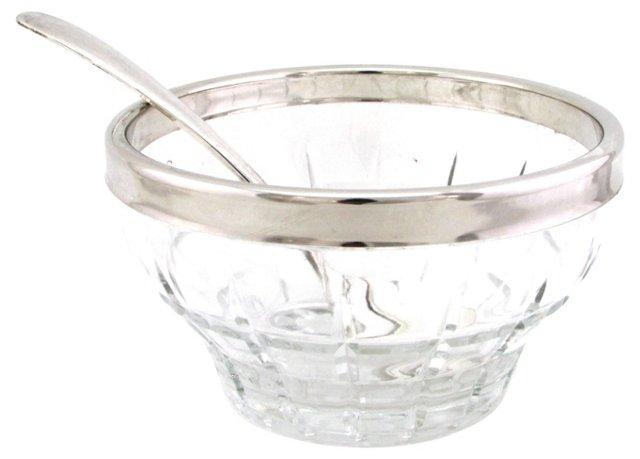 Italian Suger Bowl w/ Silver Spoon