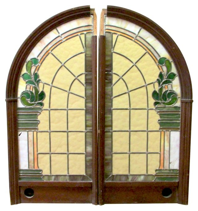 Antique Stained Glass Panels, Pair