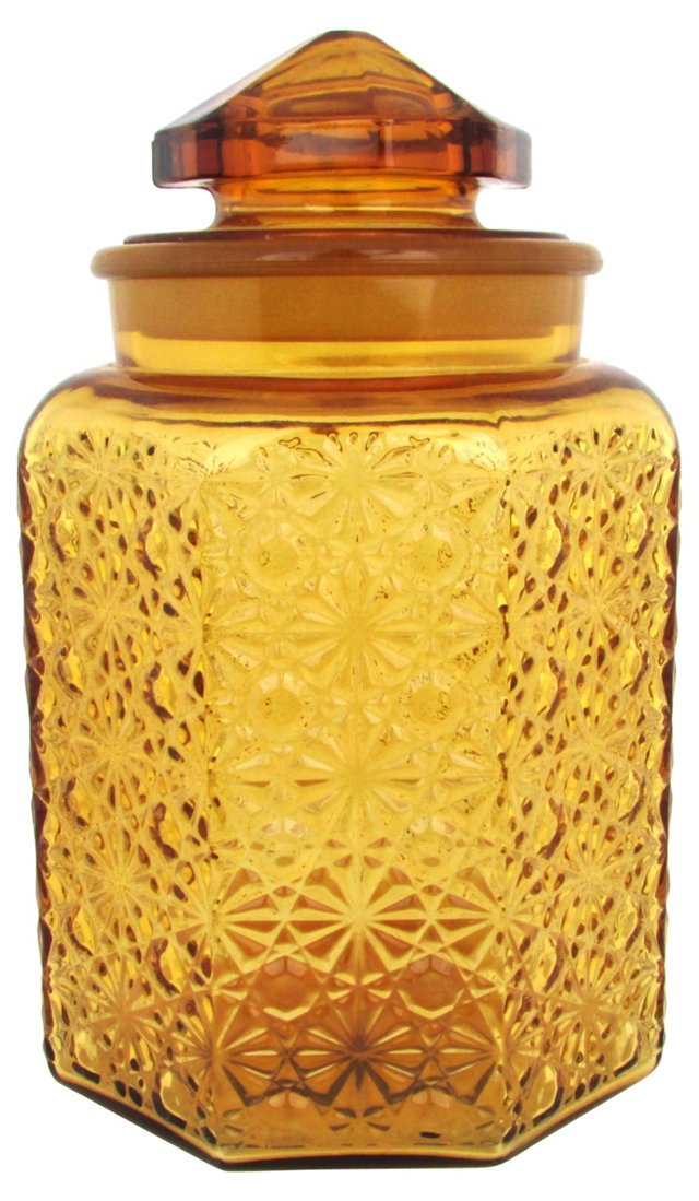 Amber Pressed Glass Canister