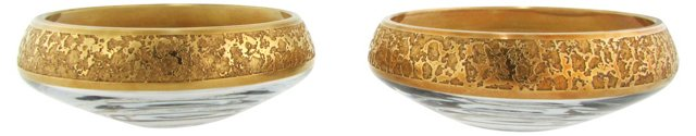 Midcentury Gold-Rimmed Bowls, Pair