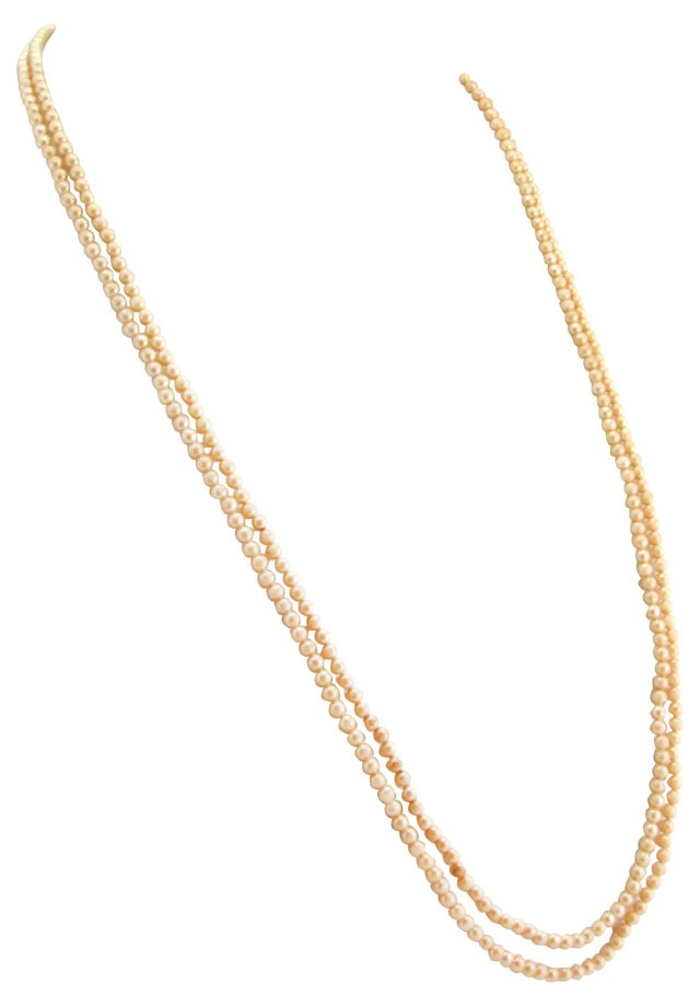 Long Glass Pearl Flapper Necklace