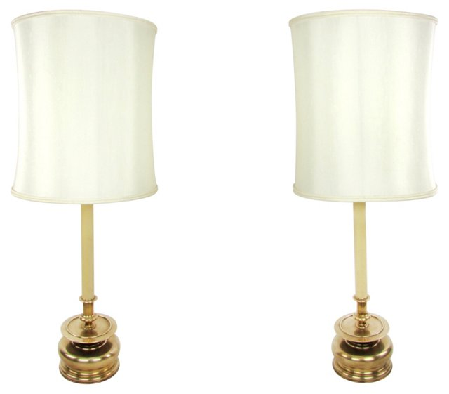 Chapman Lamps w/ Brass Bases, Pair