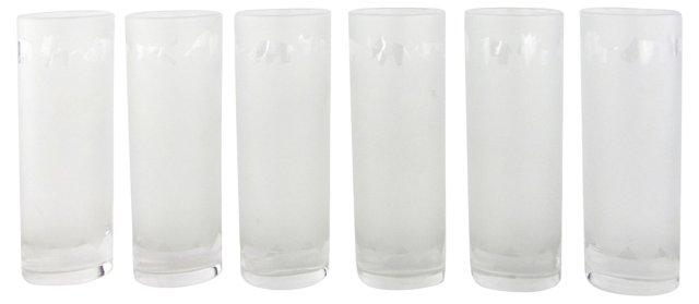 Frosted Safari Animal Rim Glasses, S/6