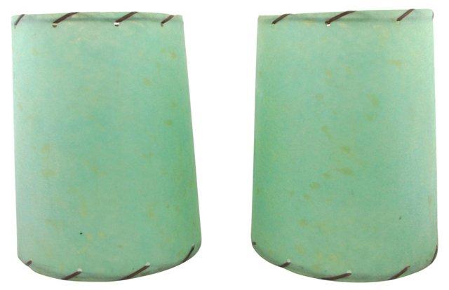 Midcentury Green Shades, Pair