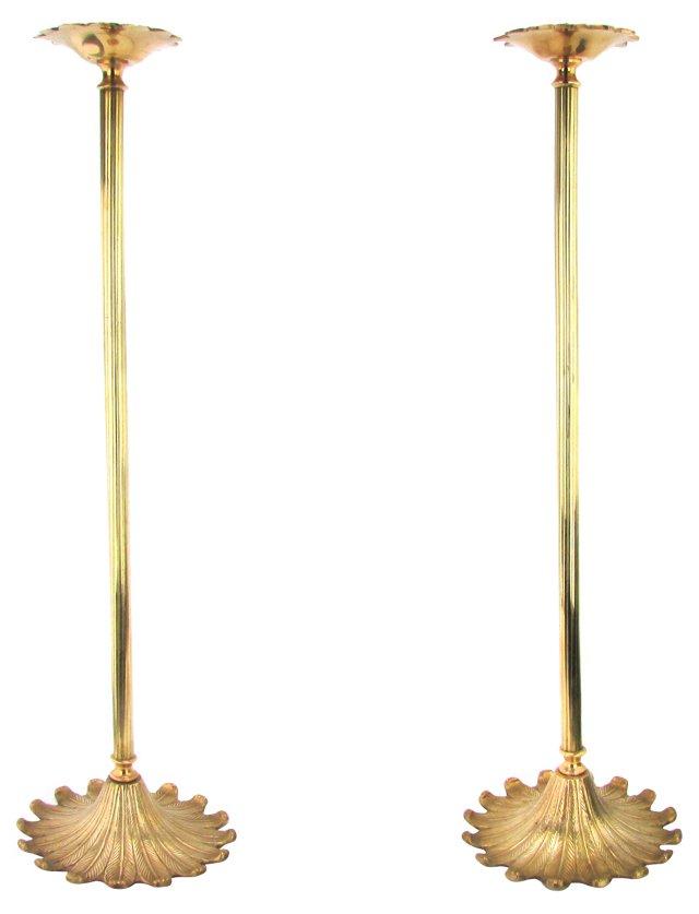 Tall Brass Candlesticks,   Pair