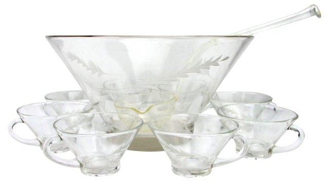 Cut Glass Punch Bowl, Ladle & 8 Cups