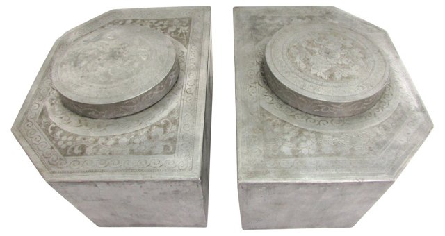 Antique Pewter Tea Canisters, Pair
