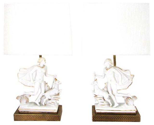 Art Deco Italian Porcelain Diana Lamps