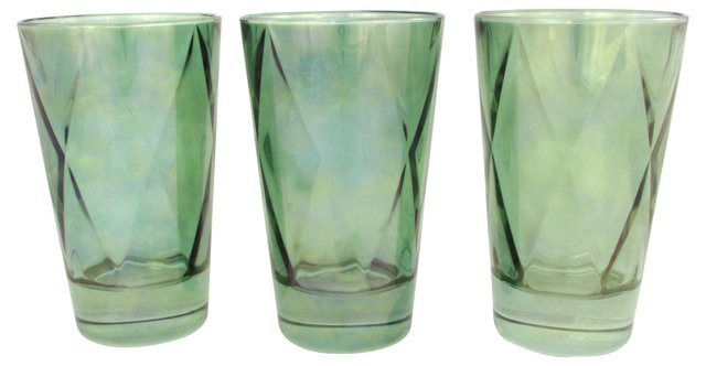 Iridescent Green Glasses, Set of 3