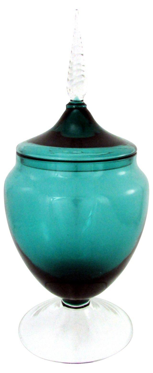 Italian Apothecary Jar w/ Clear Foot