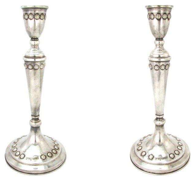 Silver Sabbath Candlesticks, Pair